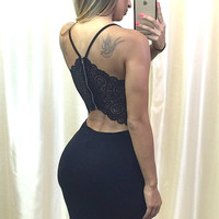 Charm and Lace Dress - Black
