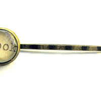 Book Library Card Brass Hair Pin Bobby Pin Single