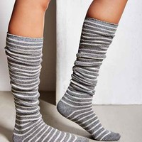 Marled Stripe Over-The-Knee Sock- Grey