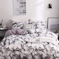 Marble Print Bedding- Duvet Cover And Two Pillowcases