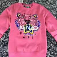 """""""Kenzo"""" Unisex Fashion Casual Long-Sleeved Couple Printed Round Neck Tiger Head Embroidery  Top"""