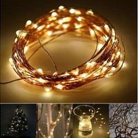 10M 33FT 100 led 3 AA Battery Powered Decoration LED Copper Wire Fairy String Lights Lamps for Christmas Holiday Wedding Party [7983470727]