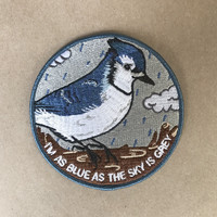 Blue As The Sky Is Grey Iron-On Patch