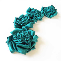 Green Flowers Hair Clips, Bridesmaid Hair Accessories, Bridesmaids Hair Flower, Rosette Satin Fabric, Floral Hairpiece Gifts Set
