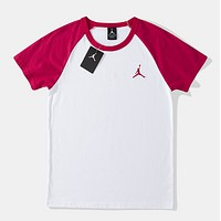 Jordan Fashion New Embroidery People Women Men Top T-Shirt Red