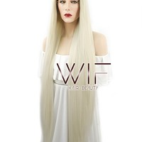 "39"" Long Straight Yaki Platinum Blonde Lace Front Synthetic Hair Wig LF701H"