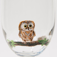 Hand painted baby owl wine glass
