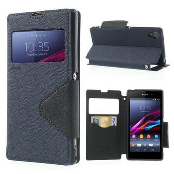 For Sony Xperia Z1 Compact Case Korea Diary Leather View Window Flip Stand Capa For Sony Xperia Z1 C6903 Z2 Z3 C S39H TPU Cover