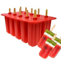 10 Grids Silicone Popsicle Mold Ice Cream Tray Ice Pop Mould With Cover Kitchen Mold Ice Cream Maker