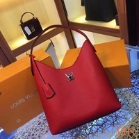 HCXX 19Aug 052 M52776 Louis Vuitton Taurillon Large-capacity Fashion Casual Tote Bag 29.5-34-16cm Red
