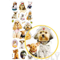 Realistic Puppy Dogs in Funny Costumes Shaped Animal Photo Stickers | Pet Themed Scrapbook Decorating Supplies