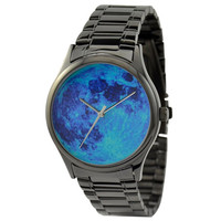 Moon Watch (Blue) in black case with metal band