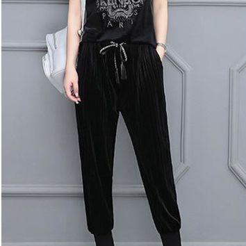 """KENZO"" Women Fashion Tiger Head Pattern Gold Velvet Short Sleeve Trousers Set Two-Piece Sportswear"