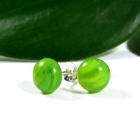 Green Marbled Stud Earrings, Sterling Silver, Fused Glass Jewelry