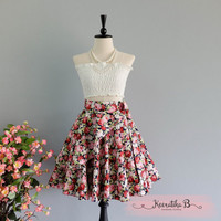 Spring's Whisper Floral Skirt Spring Summer Sweet Navy Red Floral Skirt Party Cocktail Skirt Wedding Bridesmaid Skirt Navy Floral Skirts