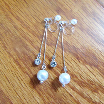 Swarovski Pearl Clip on earring |6B| Non Pierced earrings, Rhinestone clip on earring, dangle Bridal clip-ons, Wedding clip on earrings
