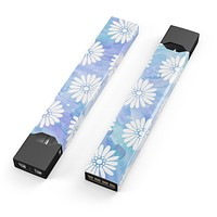 Skin Decal Kit for the Pax JUUL - Blue and White Watercolor Flower Print Pattern