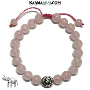 GET LUCKY | Rose Quartz | Elephant | Pull-Tie Adjustable Bracelet