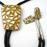 Men's Mother Of Pearl Bolo Tie Sterling Silver Leather Necklace