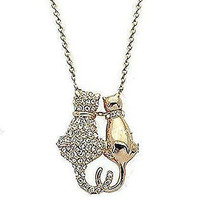 Basket Hill , Gold Tone, Crystal Cat Couple w/ Heart Tails Necklace