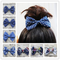 Hair Bow or Bow Tie 4th of july hair The national flag color bow jean hair bow , Baby Girl Adult  hair accessories