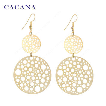 Gold/Silver Plated Dangle Round Earrings