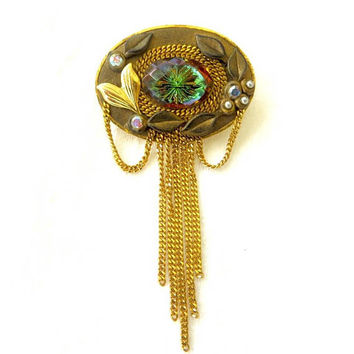 Marena Vitrail Rivoli Brooch, Dangle Chains, Aurora Borealis and Seed Pearl, Vintage Signed Hand Made in Germany