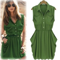 Chiffon spring dresses with short sleeves-0-1-0-11
