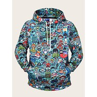Men Random Cartoon Print Drawstring Hoodie