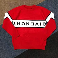 GIVENCHY Autumn Winter Casual Print Long Sleeve Round Collar Sweater Pullover Top Red