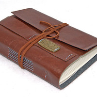 Light Brown Vegan Faux Leather Journal with Bookmark