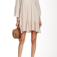 Long Sleeved Embroidered Swing Dress