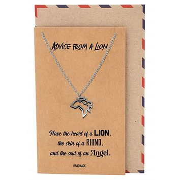 Damya Lion Pendant Necklace, Gifts for Women with Inspirational Quote on Greeting Card