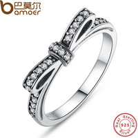 BAMOER Authentic 925 Sterling Silver Sparkling Bow Knot Stackable Ring Micro Pave CZ for Women Wedding Jewelry PA7104