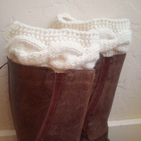 Winter fashion 2015 - cream legwarmers - boot toppers - cream boot cuffs - women's accessory -handmade warm boot toppers