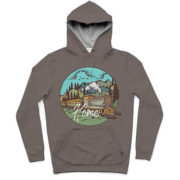 Train Home Trendy All-Over Print Solid Sandstone Hoodie