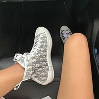 Dior hot sale couple print letters high top casual sneakers Shoes