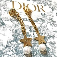Dior Newest Fashion Women Delicate Star Pearl Pendant Earrings Accessories Jewelry