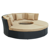 Pursuit Circular Outdoor Patio Daybed Set in Espresso Mocha