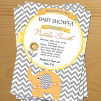 Chevron Baby Shower Invitation Boy Baby Shower Invitation Girl Baby Shower yellow gray FREE Thank You card included Baby Shower Invite