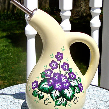 Hand Painted Olive Oil Dispenser With Purple Violets, Hand Painted Olive Oil Bottle, Painted Olive Oil Dispenser, Unique Gift, Gifts For Her