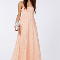 Missguided - Skyla Lace Bandeau Maxi Dress Nude
