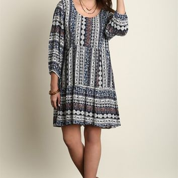 Dress - Vineyard Stroll Boho Floral Peasant Dress