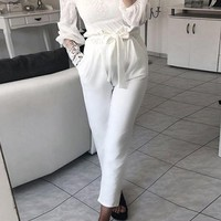 White Pockets Sashes Casual Long Pants