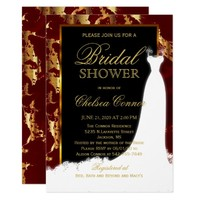 Gold Marble, Black and Red Bridal Invitation