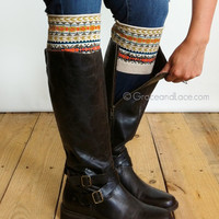 Grace & Lace Patterned Boot Cuffs™ (Fair Isle - Tan, Mustard, Coral)