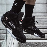 Bunchsun Air Jordan 5 Popular Men Casual Sport Running Basketball Shoes Sneakers Black