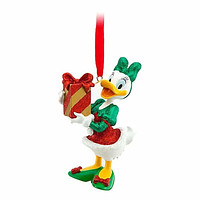 disney parks christmas daisy duck holding present glitter ornament new with tag