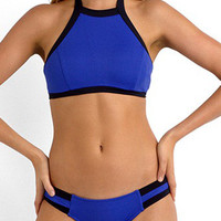 Blue Halter Cut Away Bikini Top And Triangle Bottom