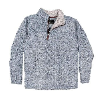 The Original Frosty Tipped Pile 1/2 Zip Pullover in Denim by True Grit